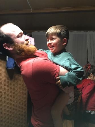 Henry giving James a goodbye hug!