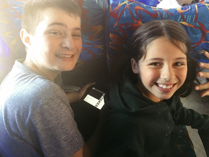 Aidan and Lola on bus trip