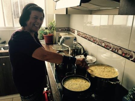 Luisa making Fanesca!